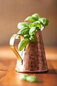 Fresh basil in a copper can