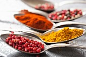 Peppercorns, curry and ground paprika, on spoons
