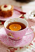 Tea with a slice of orange