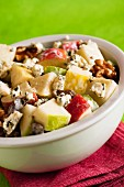 Apple & blue cheese salad with walnuts, celery and raisins