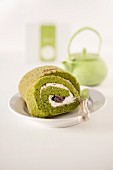 A matcha Swiss roll