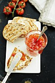 Tomato chutney and barbecued bread with butter