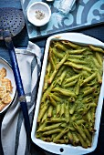 Penne bake with pea purée