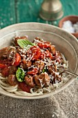 Linguine with sausage, tomatoes and cheese