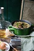 Lamb stew with avgolemono sauce (Greece)