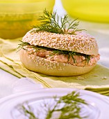 Sesame seed bagel with salmon and dill