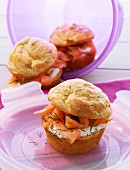 Muffins with smoked salmon for a picnic