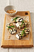 Grilled aubergine rolls filled with feta cheese