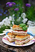 Focaccia sandwiches with mozzarella, tomatoes and basil