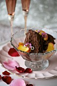 Chocolate mousse with poached peaches for Valentine's Day