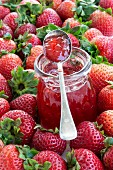 A jar of strawberry jam surrounded by fresh strawberries