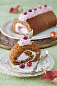 A Slice of Rolled Pumpkin Spice Cake with Cranberry Jam, Grand Marnier Syrup & Cream Cheese Filling