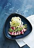 Stir fry tuna with pesto and fennel salad