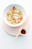 Asian noodle soup with prawns and chicken