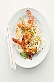 Curry prawns with rice noodles