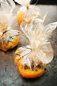 Peach with passion fruit, baked in film