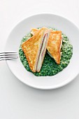 Cheese and ham toasted sandwich on a bed of creamed spinach