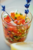 Tomato salsa with lavender flowers