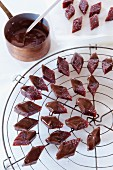 Quince sweets dipped in chocolate