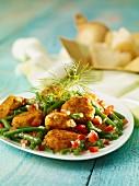 Prawn fishcakes with green bean salad