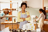 Portrait of woman employees at bakery