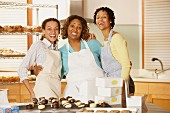 Portrait of three woman working in bakery