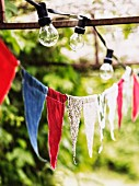 Bunting and string of lights in garden