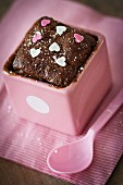 Mini chocolate cake with sugar hearts
