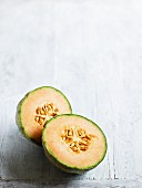 Cantaloupe melon, cut in half