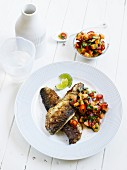 Fried mackerel with melon salsa