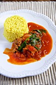 Curry rice with tomato ragout