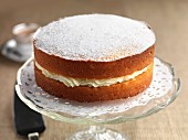 Gluten-free lemon sponge cake with icing sugar