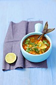 Lemongrass soup with ginger, chilli and smoked mackerel (Asia)