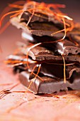 Chilli chocolate with chilli powder and chilli strands scattered over the top