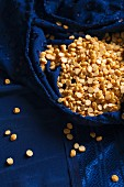 Chana Dhal (yellow lentils) in a blue silk sari
