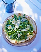 A rocket pesto and rocket pizza