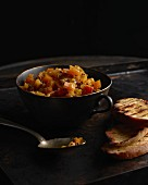 Pumpkin chutney with toasted bread
