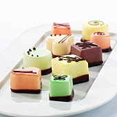 Assorted petit fours on a serving plate