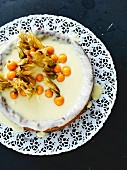 A white chocolate cake with limoncello and physalis