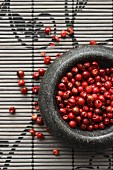 Red peppercorns in a mortar