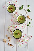Cream of pea soup with croutons