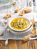 Sour gherkin soup with minced meat