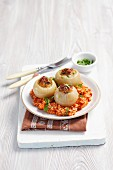 Stuffed onions filled with minced meat and tomato rice