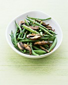 Green beans and portobello mushrooms