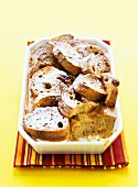 Pumpkin bread pudding with icing sugar