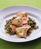 Fried salmon with lentils