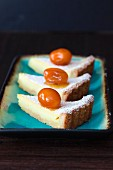 Three slices of citrus tart for carnival in Italy