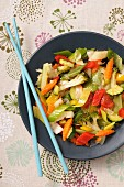 Vegetable stir fry with pepper and broccoli (Asia)