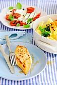Vegetable gratin with turkey steak