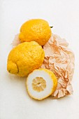 Sicilian cedro lemons on a piece of paper